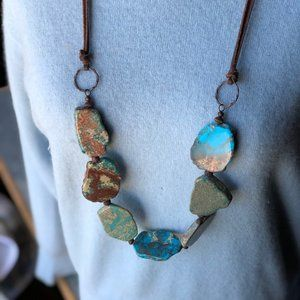 New Turquoise Stone Necklace on Leather